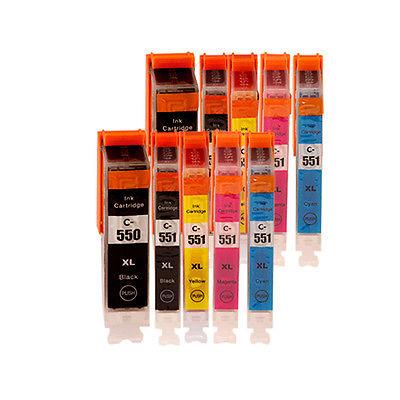 Canon PGI-550XL PGBK + CLI-551XL 10 stk. Kompatibel Multipack – 170ml Canon PIXMA iP7250 | InkNu
