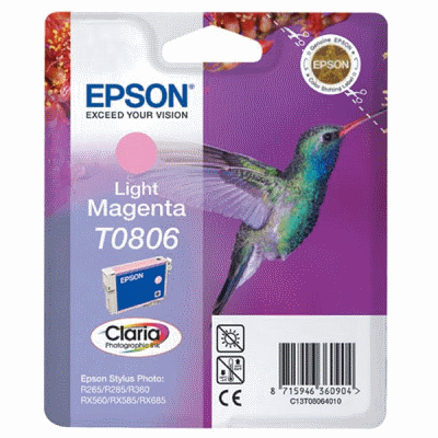 Epson T0806 Light Magenta Original Blækpatron Epson Stylus Photo P50 | InkNu