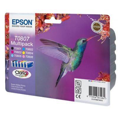 Epson T0807 Multipakke, 6 Farver Original Produkt Epson Stylus Photo P50 | InkNu