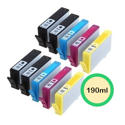 HP 364XL 10 stk. Kompatibel Multipack (4xSort / 2xC / 2xM / 2xY) – 190ml HP DeskJet 3070   InkNu