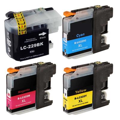 Brother LC 225/229 XL Kompatibel 4 stk Patronpakke – 95ml Brother MFC J 5320 | InkNu