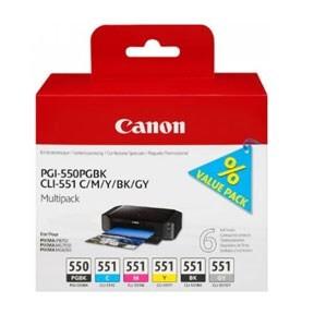Canon PGI-550/CLI-551 PGBK/C/M/Y/BK/GY Multi-Pack Canon PIXMA iP8700 | InkNu