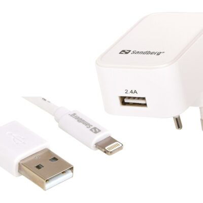 Sandberg AC Charger EU Lightning 2.4A White Opladere | InkNu
