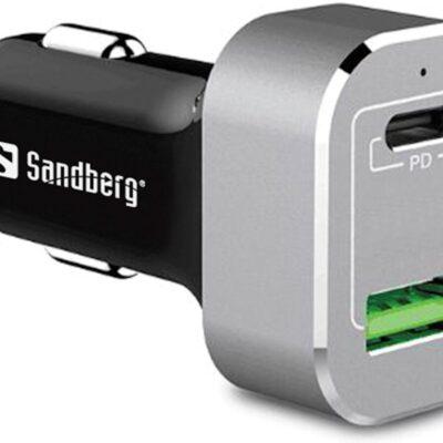 Sandberg Car Charger USB-C PD+QC3.0 63W, Black/Silver Bil ladere | InkNu