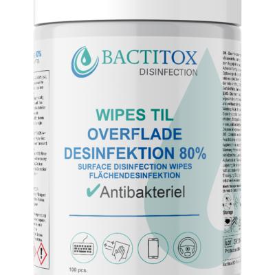Bactitox Wipes til overfladedesinfektion 80% (100 stk/boks) Covid-19 | InkNu